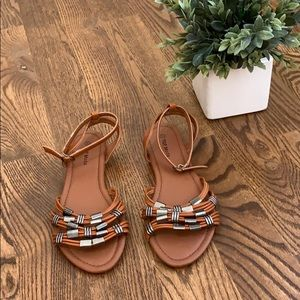 Top Moda Brown Strappy Sandals With Silver Rings